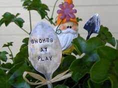 Garden pick silver plated spoon Gnomes At by WhisperingRainbows, $5.00