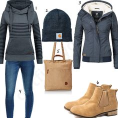 Damenoutfit mit Hoodie, Mütze und Chelsea Boots (w0955) #hoodie #jeans #beige #blau #jacke #outfit #style #fashion #womensfashion #womensstyle #womenswear #clothing #frauenmode #damenmode #handtasche  #inspiration #frauenoutfit #damenoutfit
