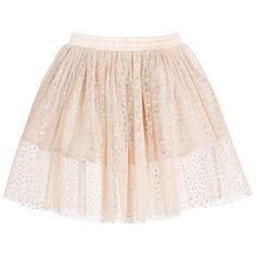 Stella McCartney Kids Peach Pink & Silver Spot 'Amalie' Tulle Skirt at Childrensalon.com