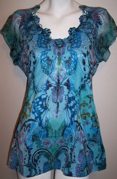 Apt 9 Top M Blue Butterfly Boho Hippie Sublimation Stretch Knit Tunic Shirt M #Apt9 #KnitTop #Casual