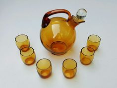 Vintage AMBER GLASS TEA SET ~ Teapot w/ 6 Teacups ~ ART DECO MODERN ~ Unusual! #Modern #ArtDeco #Amber #Glass #Teapot #TeaSet