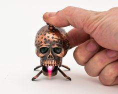 Working Vintage Copper Pirate Skull Novelty Lighter