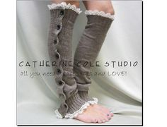NEW smokey MOCHA heather Button down venise ivory lace edged leg warmers women great with or without boots Catherine Cole Studio legwarmers