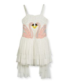 Bonny+Winged+Swan+Tulle+Dress,+Size+4-14+by+Stella+McCartney+at+Neiman+Marcus.