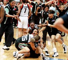 Teresa Weatherspoon's buzzer beater half court shot, Game 2, 1999 WNBA Finals. (Among my top 5 most amazing basketball moments.)