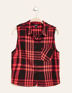 chemise courte à carreaux  noir et rouge