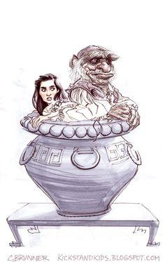 Sarah and Hoggle of Labyrinth by Chris Brunner by AshcanAllstars.deviantart.com on @deviantART