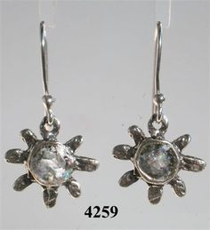 Roman glass jewelry dangling floral earrings Israeli by Bluenoemi