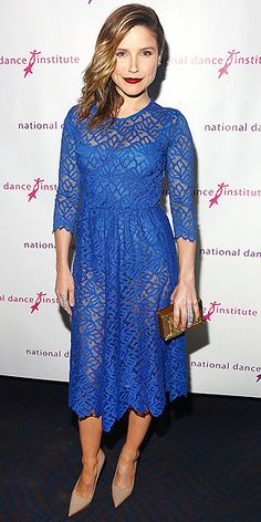 SOPHIA BUSH The actress opts for a graceful lace midi and demure nude pumps but vamps up her look with a sexy crimson lip at the National Dance Institute Gala in N.Y.C.