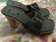 Splash Fashion Footwear Blue Denim Wooden Heel Clogs Heels Size 8 Shoes #Splash #Clogs #Cute