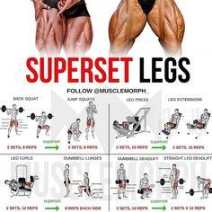 Legs training superset gymnastics bodybuilding muscle building muscular morph muscle fitness - Workout at Home Fitness Workouts, Leg Day Workouts, Weight Training Workouts, Gym Workout Tips, Back Superset Workout, Hamstring Workout, Workout Plan For Men, Fitness Classes, Workout Regimen