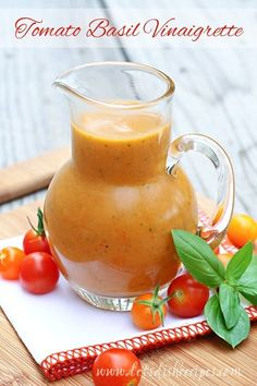 that time of year where I've got an abundance of tomatoes coming from my garden. And as much as I love them, I really appreciate new ways to use them, like this Tomato Basil Vinaigrette. Sauce Recipes, My Recipes, Cooking Recipes, Favorite Recipes, Healthy Recipes, Cooking Tips, Picnic Recipes, Frosting Recipes, Dinner Recipes