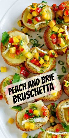 Peach and Brie Bruschetta recipe from RecipeGirl.com #peach #brie #bruschetta #summer #appetizer #recipe #RecipeGirl Summer Appetizer Recipes, Easy Holiday Recipes, Low Carb Dinner Recipes, Easy Delicious Recipes, Healthy Dessert Recipes, Summer Recipes, Appetizers, Vegetarian Meal Prep, Vegetarian Recipes