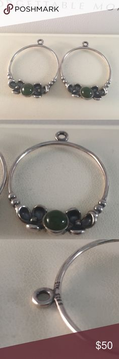 New Pandora Nephrite Jade Compose Parts Authentic and new with genuine jade. Retired beauties to help create your Earring story! Just add post! Matching ring in my closet! Pandora Jewelry Bracelets