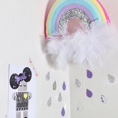 When it #rains look for #pastel #rainbows🌈. . #Raindrop wall #decals are now available in a mixed media set. #silver #glitter, silver #mirror #foil and lilac. Find them with the weather decals🌧⚡️. . . ✨Robot postcard from @wonderandrah . ✨Pastel rainbow from @noodledollnelly. ✨Rain wall decals and tulle pom-poms from @mpsandthesquishyco.com_ . . . . #rain #prettywalls #mpsandtsc #uniquepartygifts #smallbusiness #supportsmall #instagirls #instaboy  #handmade #handcrafted #instakids…
