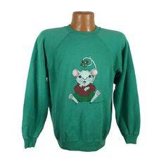 Ugly Christmas Sweater Vintage Sweatshirt Kissmas Mouse Party Xmas Tacky Holiday L