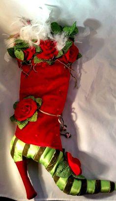 Red Rose High Heeled Christmas Stocking