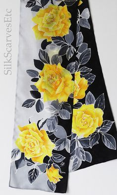 Yellow gray scarf. Gray black silk scarf. Hand by SilkScarvesEtc