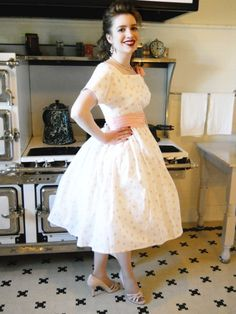 "My Ladies' 1958 Party Dress pattern, sewn up so glamorously by my friend Katrina over at Edelweiss Patterns. She calls this one the ""Cupcake Dress,"" and it will be featured in an upcoming issue of Threads Magazine!"