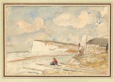 PAUL HUET (1803-1869) Falaise et nuages ensoleillés Aquarelle. Porte en bas à droite le cachet Paul Huet (Lugt n°1268). H_17 cm L_26 cm - Pierre Bergé & associés - 05/11/2014