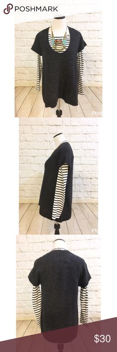 """Anthropologie cartonnier wool pullover sweater Perfect for cold weather layers. Excellent condition. (Striped tee and necklace not included). Bust 19 1/2"""" length 27"""". This is longer than a normal sweater, almost tunic length. Relaxed fit , easy to throw on and go. Size small. No trades Anthropologie Sweaters Crew & Scoop Necks"""