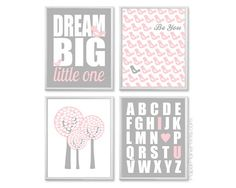 Baby Girl Nursery Art Light Pink and Grey by PaperPlanePrints, $45.00