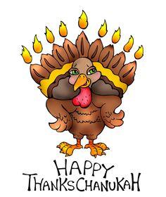 Thanksgiving Hanukkah greeting card  Happy by MENORNAMENTS on Etsy, $3.00