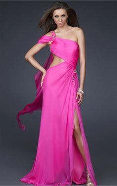 Fuchsia A-line Floor-length One Shoulder Dress