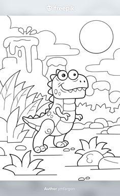 Colouring, Coloring Books, Prehistoric Dinosaurs, Funny Illustration, Tyrannosaurus, Kid Activities, Stock Photos, Cartoon, Cute