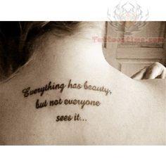 Upper Back Literary Tattoos For Girls
