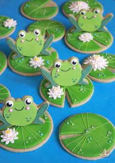 Cut out matcha sugar cookie recipe, ideal as a base for cookie decorating. Light green color matches well with frog and lily pad cookies. Frog Cookies, Iced Cookies, Royal Icing Cookies, Sugar Cookies Recipe, Cupcake Cookies, Cookie Recipes, Frog Cupcakes, Matcha, Frog Baby Showers