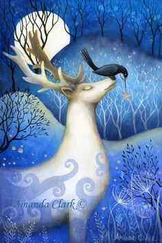 Special price! Limited edition giclee of The Guardian of Stars by Amanda Clark. by earthangelsarts on Etsy