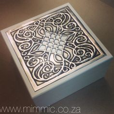 Pewter keepsake box in Ivory made using a Mimmic Stencil by Yvonne Botha from Mimmic Gallery and Studio www.mimmic.co.za