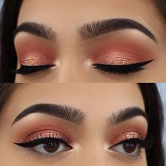 """Spring coral look from yesterday☺️ Brows: @anastasiabeverlyhills • brow wiz in """"Ebony"""" Eyes: @anastasiabeverlyhills • single shadows - """"Cream"""" as a base """"orange soda"""", """"sienna"""", and """"blazing"""" in the crease, """"henna"""", """"gem"""", and """"peach sorbet"""" on the lid Highlight: @anastasiabeverlyhills • sun dipped glow kit in """"moonstone"""" for the inner corner and browbone Glitter: @eyekandycosmetics • """"peach fizz"""" Liner: @girlactik • marker eyeliner """"noir"""" Lashes: @iconalashes • love story-signature Used…"""