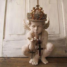 Painted cherub angel statue w/ ornate handmade crown French farmhouse ornate angelic figure decorative home decor anita spero design