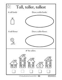 A free math worksheet for PreK and K: Draw a bigger fish