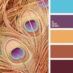 голубой, золотистый, кирпичный, оранжевый, оттенки коричневого, подбор цвета, пурпурный, теплый коричневый, фиолетово-коричневый, фиолетовый, цветовое сочетание, яркий голубой.