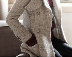 Gray Winter coat/ overcoat with long sleeves/ maxi coat with oversize button and pockets wool,Size M,L,XL on Etsy, $57.99