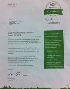 "Honored with ""CERTIFICATE OF EXCELLENCE"" By TRIPADVISOR  This Prestigious Award is Based On Quality of Reviews and Opinions We Have Earned On Trip Advisor Over The Past Year."