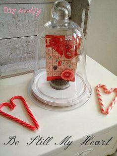 Vintage Bingo Valentines Cloche display www.diybeautify.com