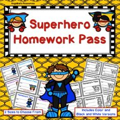 This exciting Superhero Homework Pass Set is a great addition to your classroom…