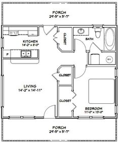 1 Bedroom House Plans, Cabin House Plans, Granny Pod, Granny Flat, Home Design, Tiny House Design, Br House, Loft House, Cottage House