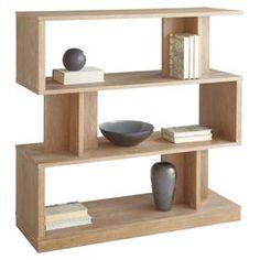 Driftwood-finished bookshelf with three offset levels.