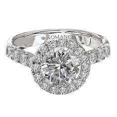 18K Halo Diamond Engagement Ring .80ctw - Romance Collection at Yatesjewelers.com
