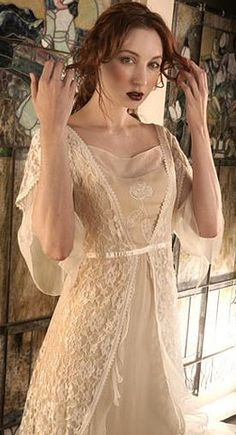 Romantic vintage inspired 1940 style informal wedding glamour lace dress al-1601 by nataya