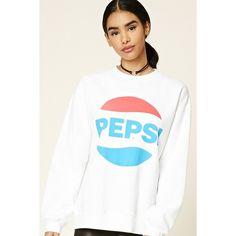 Forever21 Pepsi Logo Graphic Sweatshirt ($23) ❤ liked on Polyvore featuring tops, hoodies, sweatshirts, forever 21 tops, oversized sweatshirts, oversized tops, forever 21 and logo sweatshirts