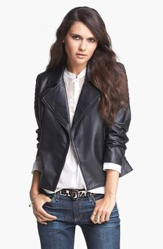 Lovely leather jacket paired with a soft blouse and skinny jeans.