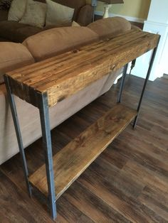 Rustic metal leg sofa table
