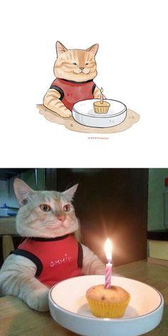 """75 das imagens mais engraçadas de gatos famosos da Internet são """"aquareladas"""" por esta artista Cute Funny Animals, Cute Cats, Funny Cats, Baby Cats, Baby Animals, Kittens Cutest, Cats And Kittens, Gatos Cool, Funny Cat Photos"""