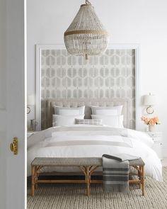 Coffee Table Design, Granada, Wallpaper Headboard, Bedroom Decor With Wallpaper, Driven By Decor, Tufted Bed, Tufted Headboards, Home Bedroom, Bedroom Ideas